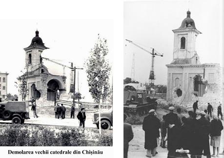 """Demolarea Bisericii """"Sfinții Arhangheli Mihail și Gavriil"""", anul 1955. Spitalul fiind deja strămutat în edificiu aparte"""